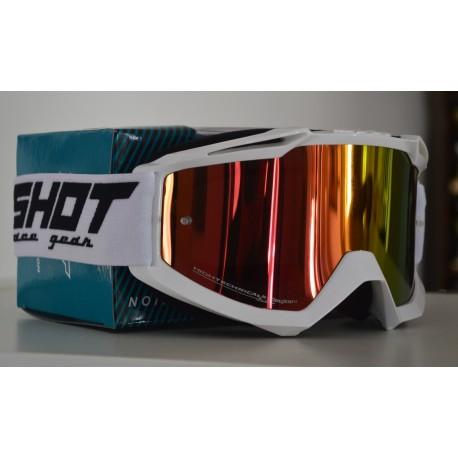 SHOT ASSAULT biele, zrkadlové červené MX okuliare