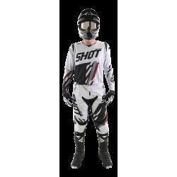 SHOT SCORE šedo/žltý neon MX komplet - dres + nohavice
