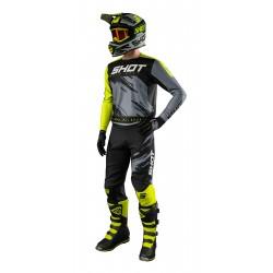 SHOT DRAW žltý neon MX komplet - dres + nohavice