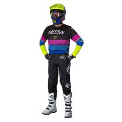FREEGUN SPEED žlto/modro/ružový MX komplet dres + nohavice