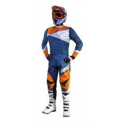 SHOT SHADOW modro oranžový fluo MX komplet - dres + nohavice